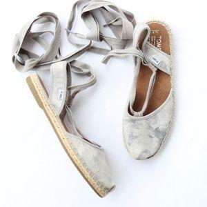 Toms Gray Bella Tie Dye Lace Up Sandals Flats 7